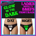 LADIES KNICKERS BRIEFS LOVE MARK WRIGHT FUNNY NOVELTY GLOW IN THE DARK ANY NAME